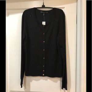 WHITE HOUSE BLACK MARKET CARDIGAN SIZE L BLACK NWT
